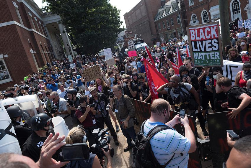 A crowd of white nationalists are met by a group of counter-protesters in Charlottesville, Virginia, U.S., August 12, 2017. …