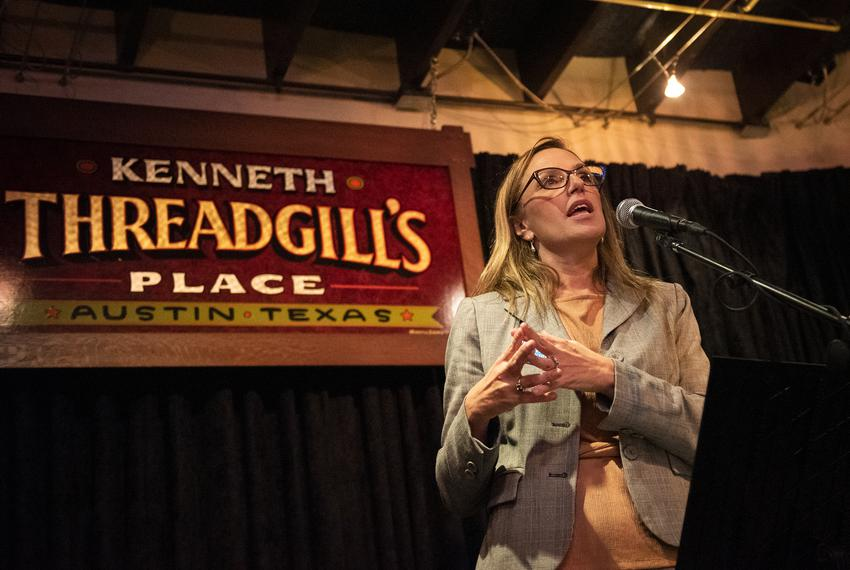 Judge Amy Clark Meachum kicks off her campaign for Texas Chief Justice at Threadgill's in Austin on Oct. 29, 2019.