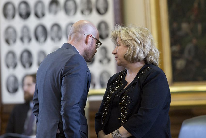Then-state Rep. Dennis Bonnen, R-Angleton, visits with Sen. Jane Nelson, R-Flower Mound, on the Senate floor on May 25, 2017.