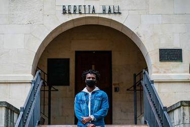 Evan Bookman poses for a portrait outside Beretta Hall on the campus of Texas State University on Jan. 20, 2021.