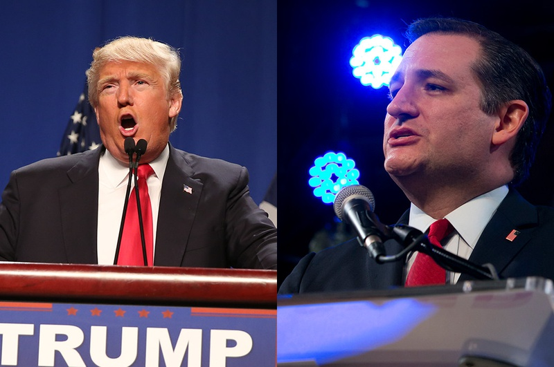 Republican presidential candidates Donald Trump and U.S. Sen. Ted Cruz rally in Texas prior to the 2016 Texas primary.