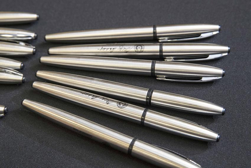 Gov. Greg Abbott's bill-signing pens. This set was used to sign several bills reforming the Dept. of Child and Family Services and Child Protective Services in a ceremony with state legislators on May 31, 2017.