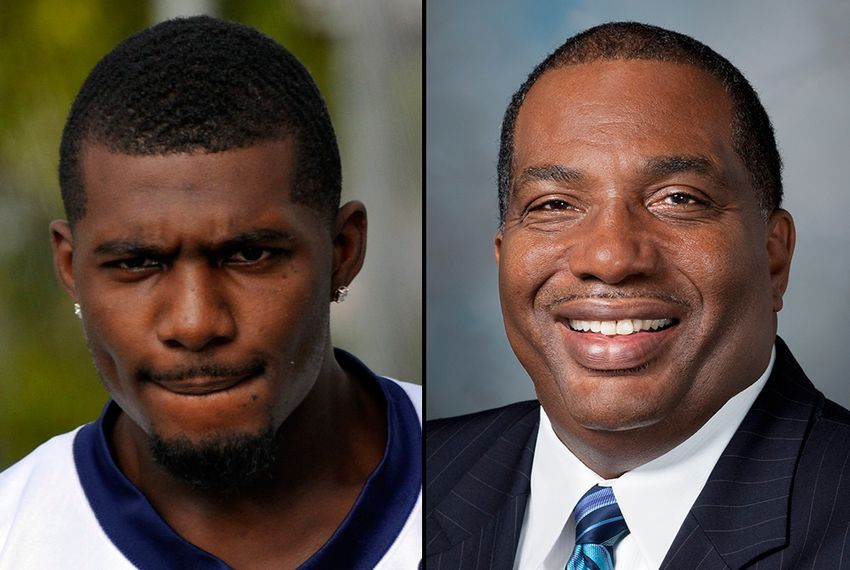 Dallas Cowboys receiver Dez Bryant, left, and state Sen. Royce West