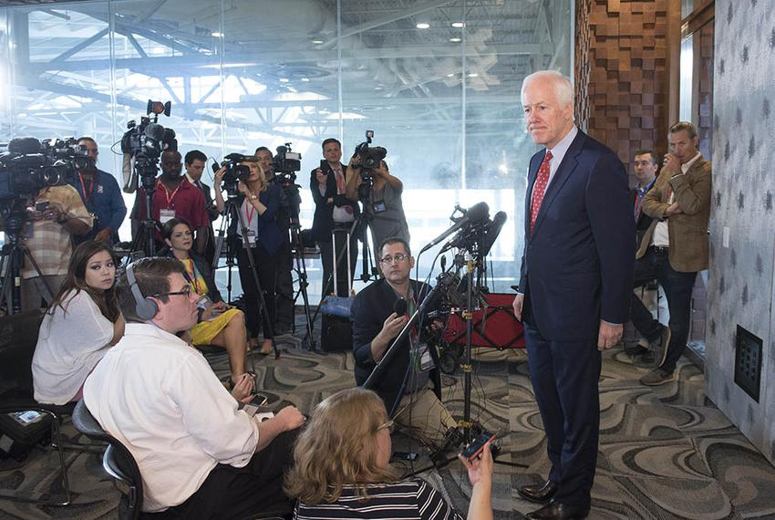 U.S. Sen John Cornyn details his meeting with Republican presumptive nominee Donald Trump during a press conference May 13, …