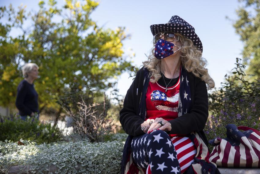 Barbara Boyle poses for a portrait after voting at Sugar Lakes Clubhouse on Election Day in Sugar Land on Nov. 3, 2020.