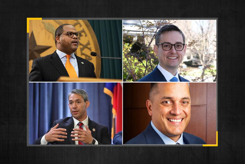 Top row, from left: State Rep.Eric Johnson and Scott Griggs of Dallas. Bottom row, from left: Incumbent San Antonio Mayor Ro…
