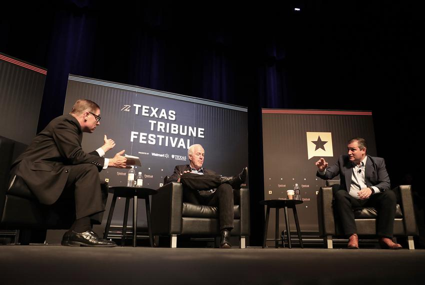 U.S. Sens. John Cornyn (center) and Ted Cruz (right) join Tribune CEO Evan Smith for the closing day of The Texas Tribune ...