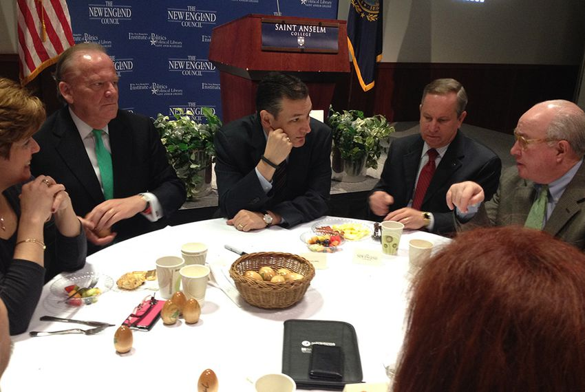 """U.S. Sen. Ted Cruz attends a """"Politics And Eggs"""" breakfast in Manchester, N.H. on March 16, 2015."""