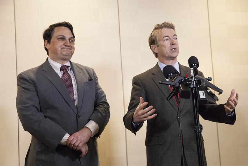 U.S. Sen. Rand Paul speaks to the press about his decision bring on Steve Munisteri, chairman of the Republican Party of Tex…