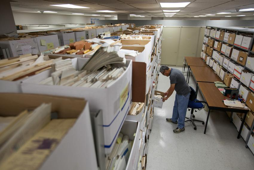 Daniel Ortuño, who manages the 1.5 million drilling records stored at the University of Texas at Austin's Bureau of Econom...