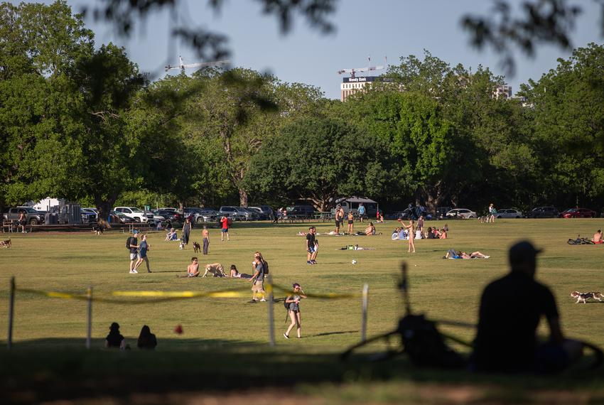Austin residents visit Zilker Park in spite of the COVID-19 related  stay-at-home order Austin on April 23, 2020.