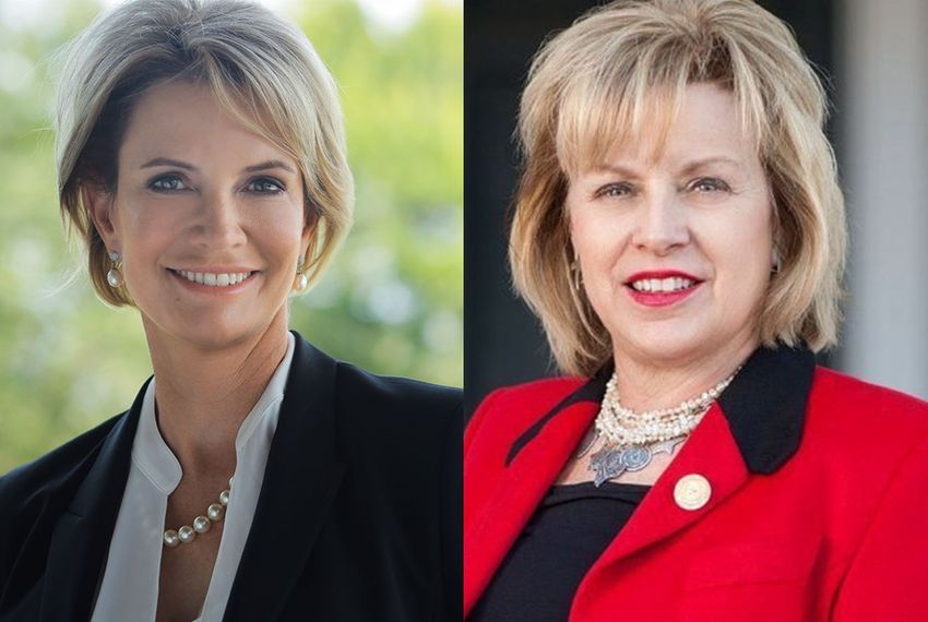 Travis County eye surgeon Dawn Buckingham, left, and Republican state Rep. Susan King of Abilene, right.