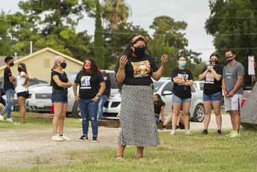 Friends of Army Specialist Vanessa Guillén gathered outside Power House Gym in Houston during a vigil held in her honor on Sunday.