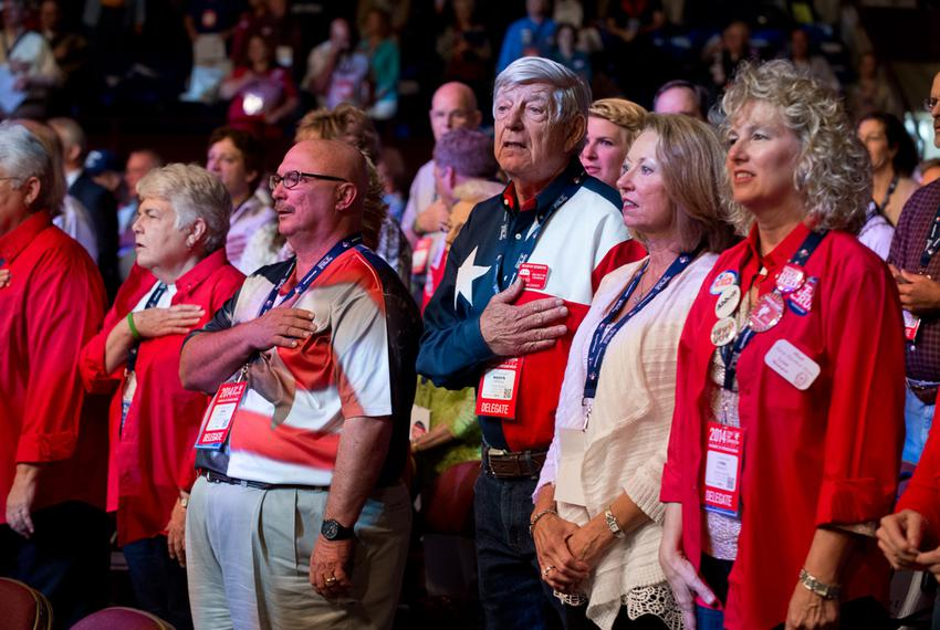 Front row delegates at Day 3 of the Texas Republican Convention in Fort Worth, Saturday, June 7, 2014.