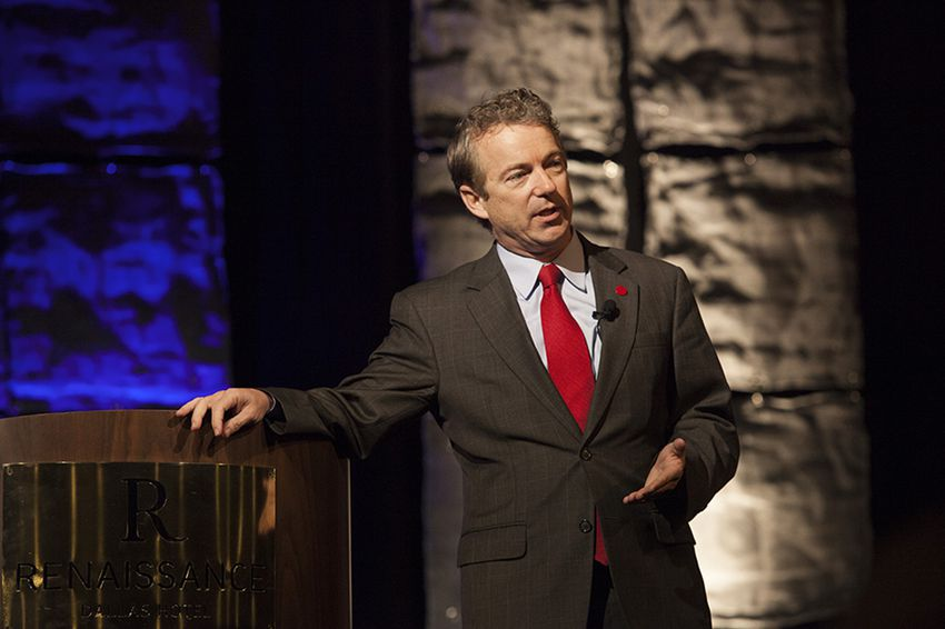 U.S. Sen. Rand Paul delivers the keynote speech at the Dallas County Republican Party Reagan Day Dinner on Jan. 30, 2015.