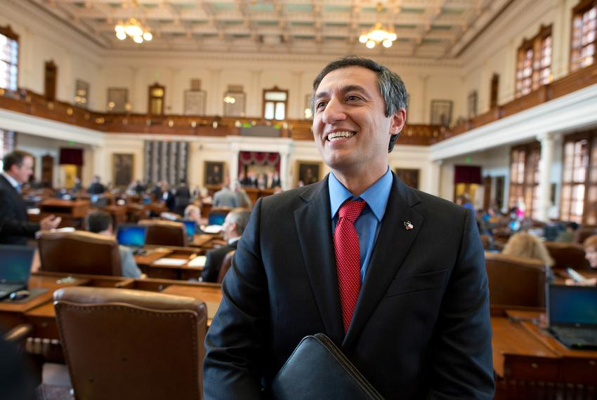 Freshman Giovanni Capriglione, R-Southlake, talks to colleagues in the House chamber on March 4, 2013. Capriglione receive...