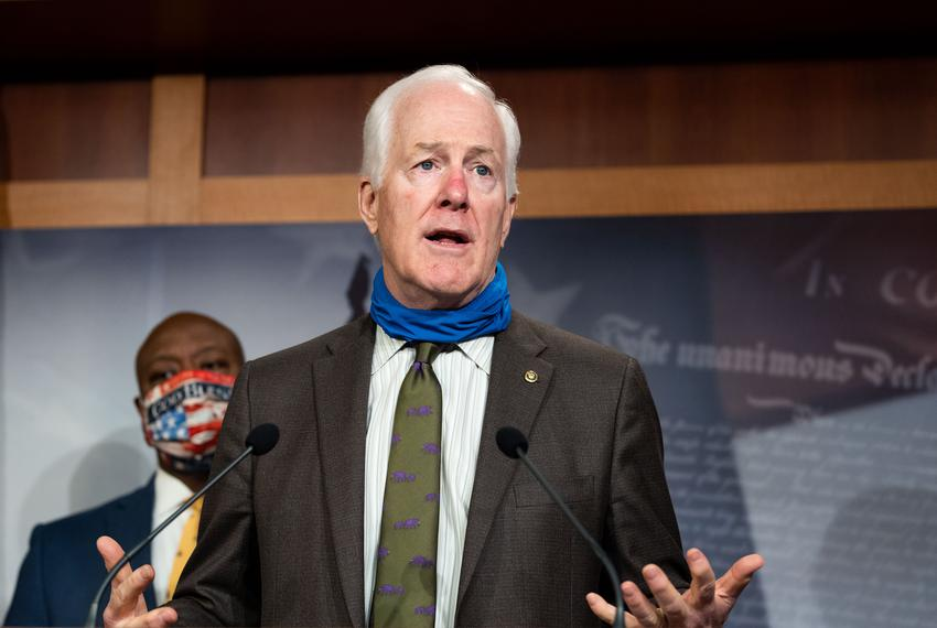 U.S. Senator John Cornyn, R-Texas, speaking at a press conference announcing the introduction of a Republican police reform …