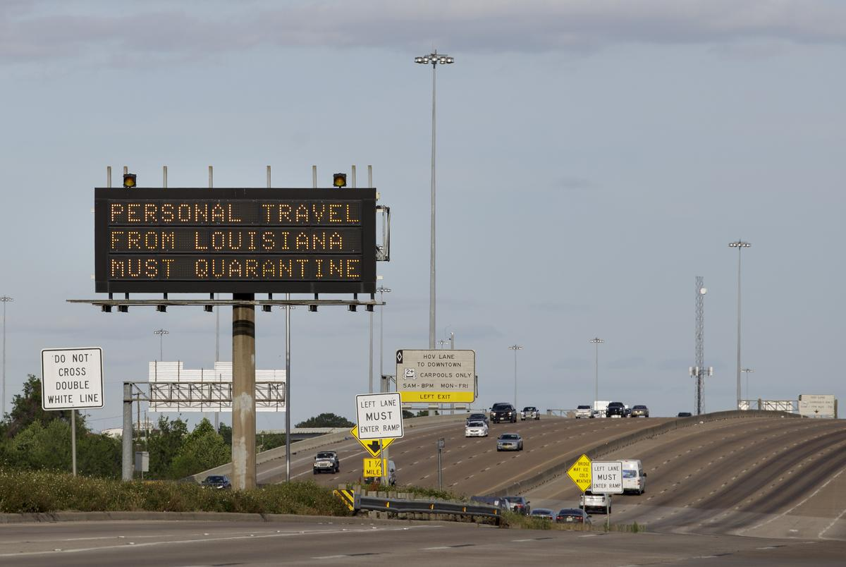 A TXDOT sign on a highway near Houston during the coronavirus pandemic on April 1, 2020.