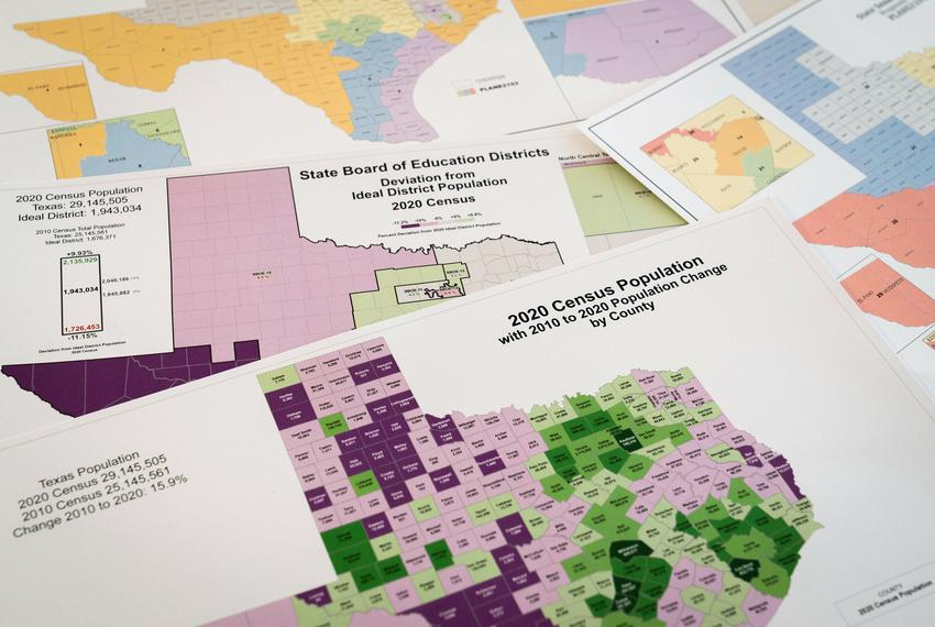 Census data from 2020 and redistricting maps at The Texas Tribune office in Austin on Oct. 7, 2021. The state population gre…