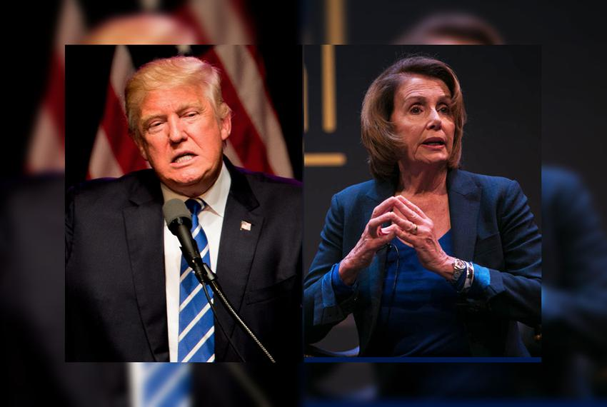 Republican candidate for president Donald Trump and Rep. Nancy Pelosi, D-California, Minority Leader of the United States Ho…