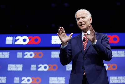 Former Vice President and presidential candidate Joe Biden speaks at the National Education association presidential forum in Houston on Friday, July 5, 2019.