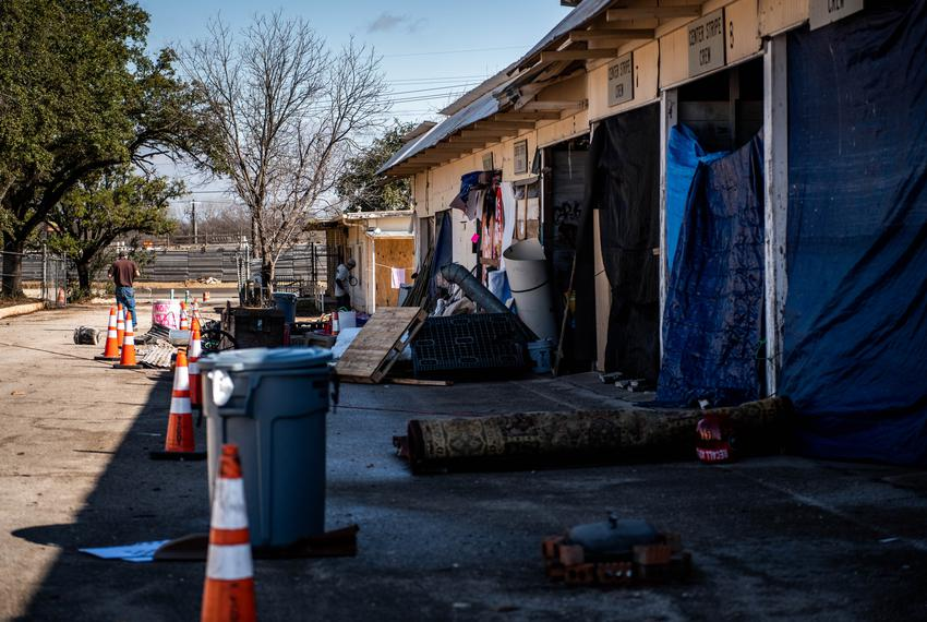 A TxDOT facility has been repurposed as a state-sanctioned homeless camping site for Austin residents. Seen on Jan. 23, 2020.