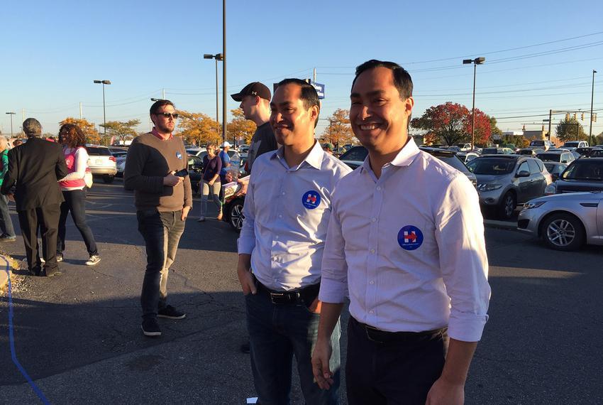 HUD Secretary Julián (l.) and twin brother, U.S. Rep. Joaquin Castro, D-San Antonio, campaign for Hillary Clinton at a Col...