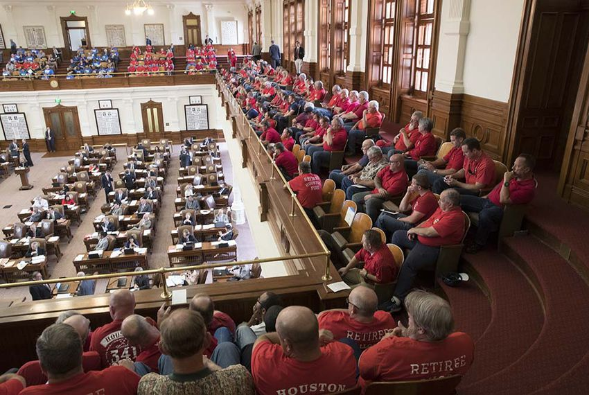 Retired Houston firefighters and police officers packed the Texas House gallery on May 8, 2017, as they await debate on a municipal pension bill that would affect their retirement payouts.