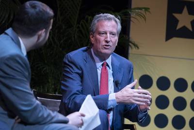 New York City Mayor Bill de Blasio is interviewed by Brian Rosenthal of the New York Times at the Texas Tribune Festival in Austin on Sept. 28, 2018.