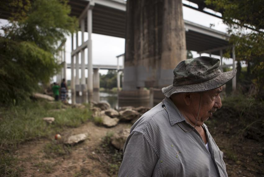 Pete Matamoros, 81, picks up trash near the Colorado River. He took up the activity as exercise after his recent triple-bypa…