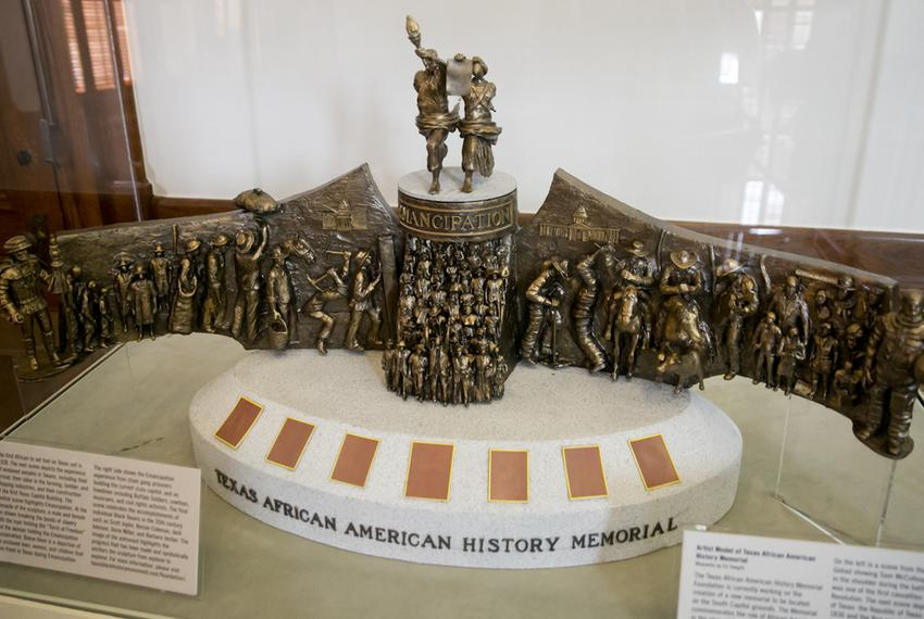 A model of the monument honoring African-Americans in Texas, on display at the Texas Capitol's agriculture museum