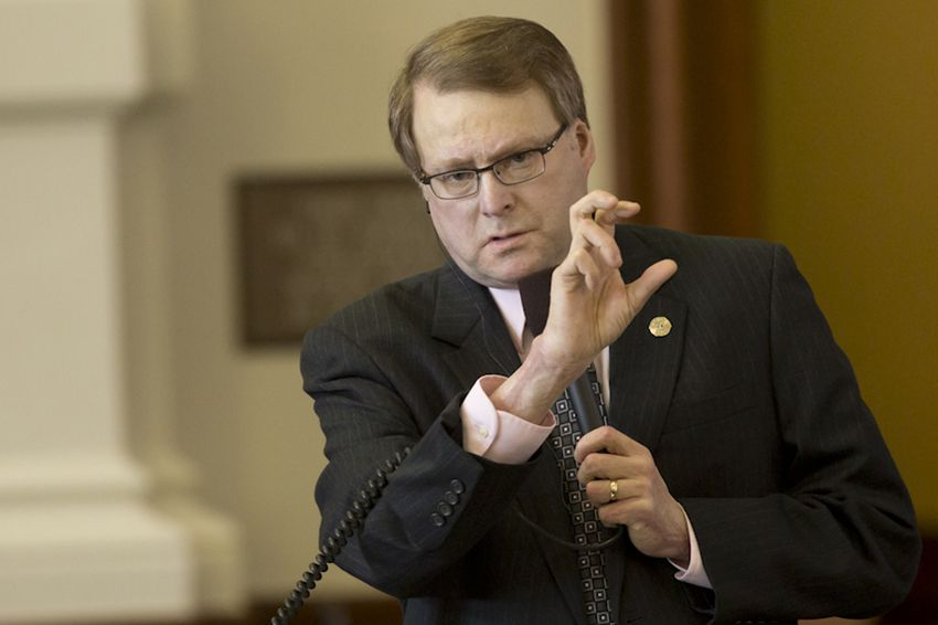 Sen. Brian Birdwell, R-Granbury, listens during a debate over Senate Bill 11 on March 18, 2015.