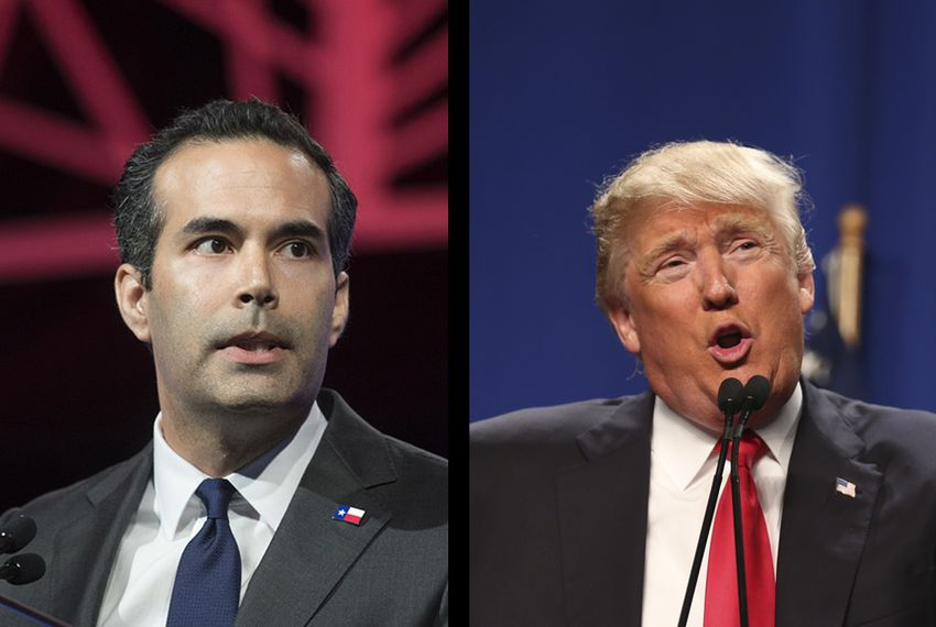 Texas Land Commissioner George P. Bush (l.) and President Donald Trump.