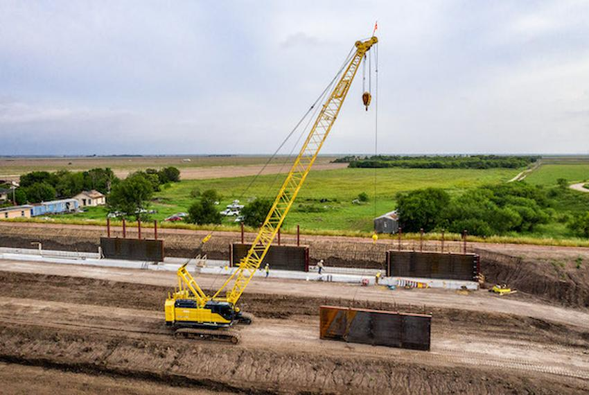 The United States border wall under construction near the Santa Ana Wildlife Refuge and Highway 281 in South Texas.
