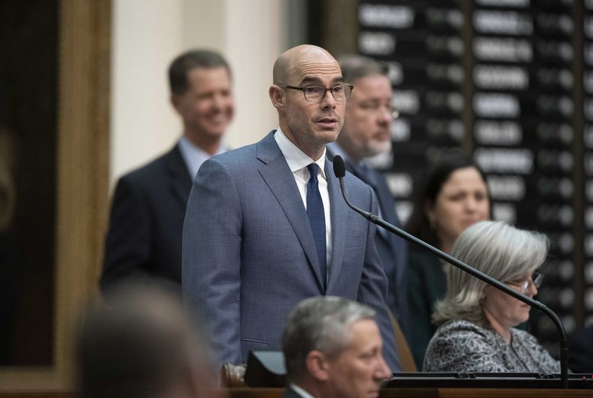 Texas House Speaker Dennis Bonnen, R-Angleton, presiding over the lower chamber during a bill debate last month.