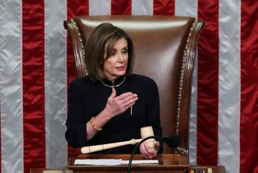 Speaker of the House Nancy Pelosi presides over the House of Representatives vote on a second article of impeachment against President Donald Trump inside the House Chamber of the U.S. Capitol in Washington, D.C. on Dec. 18, 2019.