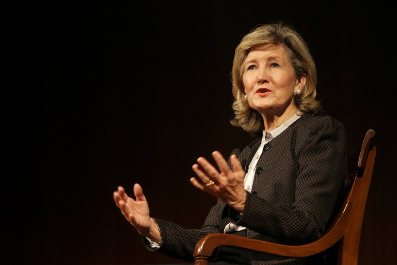Evan Smith interviewing U.S. Sen. Kay Bailey Hutchison at the LBJ Presidential Library on Oct. 15, 2012.