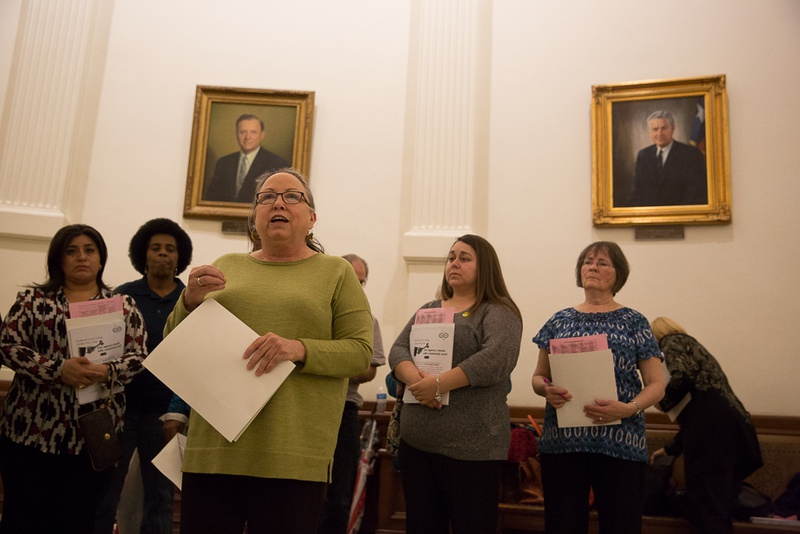 Susan Rial, member of the Texas State Employees Union, rallies with fellow Department of Family and Protective Services employees at the Capitol on March 9, 2016.