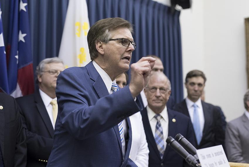 Lt. Gov. Dan Patrick speaks at a press conference after the state Senate adjourned sine die on Tuesday night, August 15, 2...