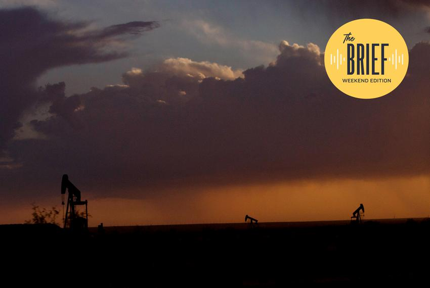 Pump jacks at sunset in West Texas.