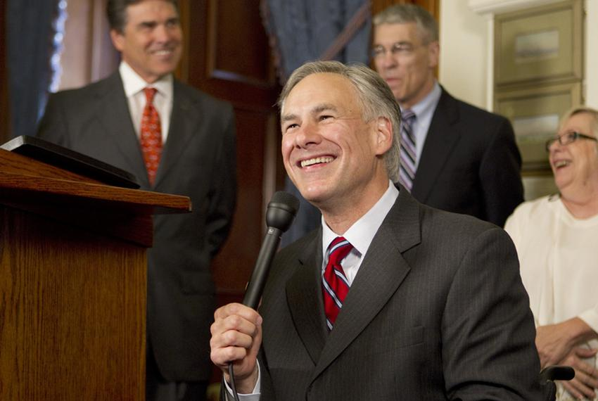 Attorney General Greg Abbott at a press conference after the ceremonial bill signing of human trafficking legislation on May…