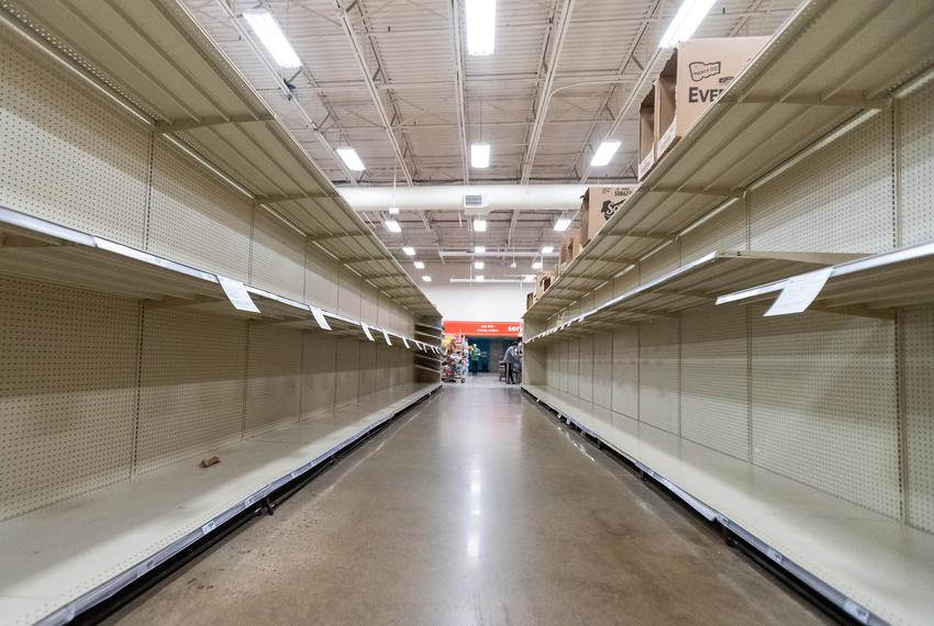Shelves in the toilet paper aisle of the Hancock HEB are completely empty as Austinites rushed to stock up on essentials dur…