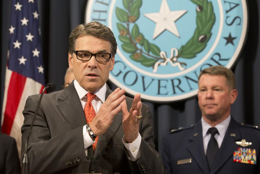 Gov. Rick Perry announces the deployment of National Guard troops along the Texas border as Texas Guard Adjutant General Joh…
