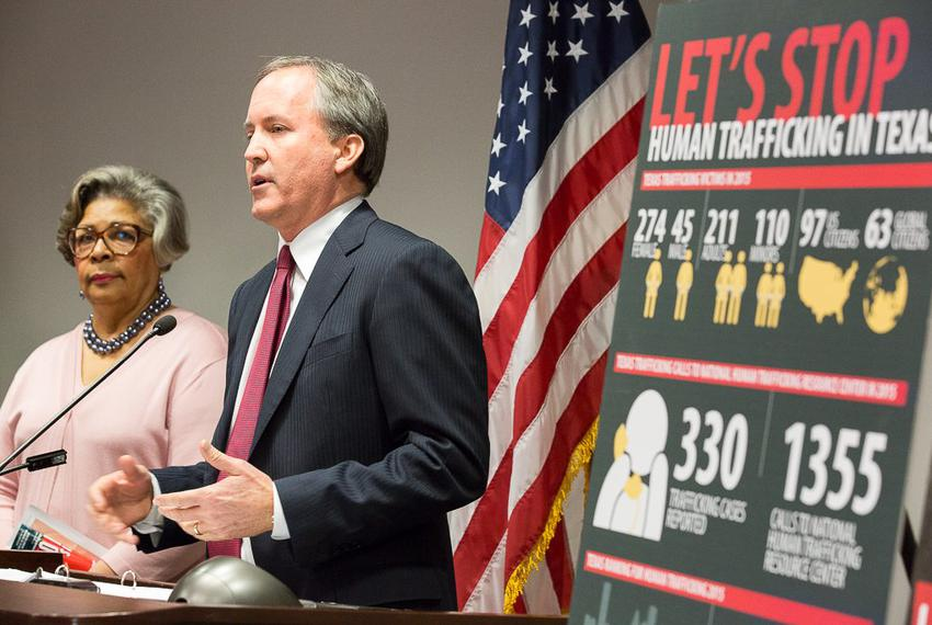 Texas Attorney General Ken Paxton announced a new unit of his office dedicated to combating human trafficking. State Rep. Se…