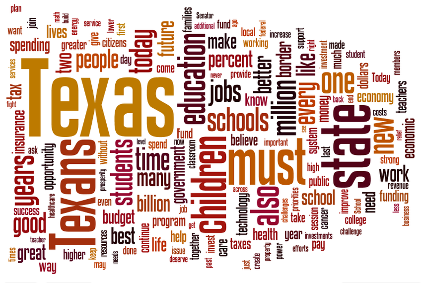 Word cloud aggregate of Rick Perry's State of the State speeches from 2001 to 2009.