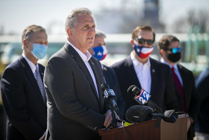 House Minority Leader Kevin McCarthy speaks at a press conference at the Houston Ship Channel on Feb. 2, 2021. McCarthy and …