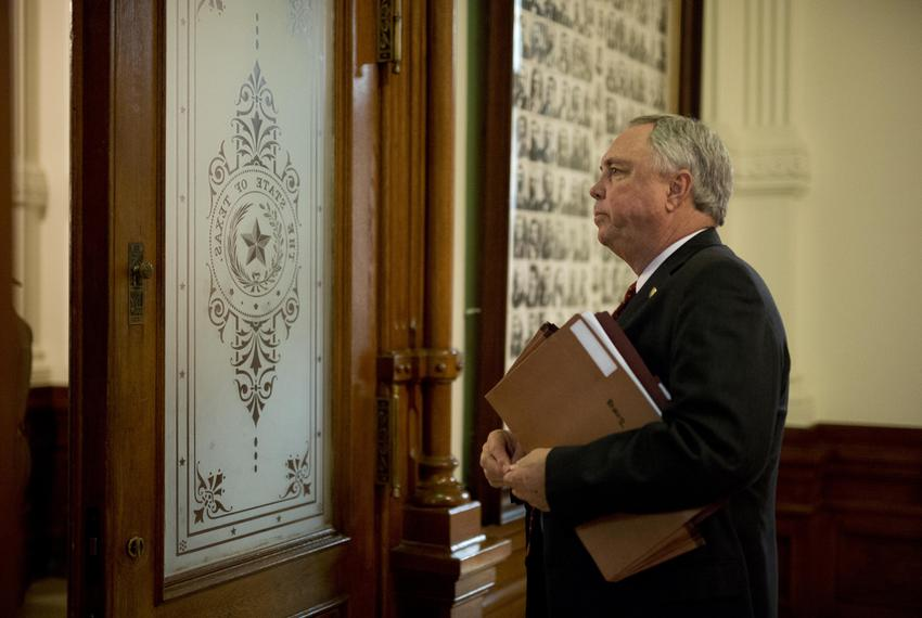 11:06 p.m.— State Rep. Drew Darby, R-San Angelo, pauses before exiting the chamber.
