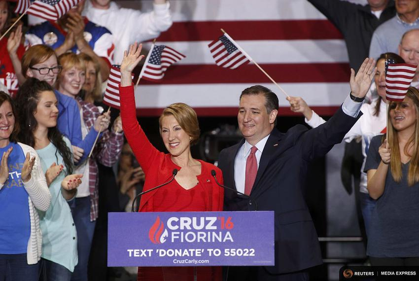 Republican U.S. presidential candidate Ted Cruz holds a campaign rally to announce Carly Fiorina as his running mate in Indi…