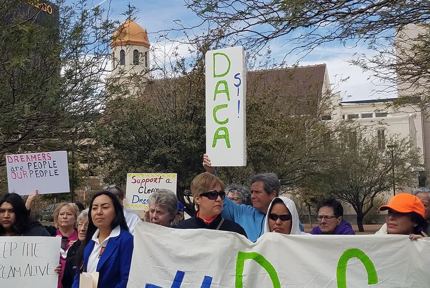 Supporters of the Deferred Action for Childhood Arrivals program rallied outside the federal courthouse in El Paso in 2018.