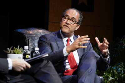 U.S. Rep. Will Hurd, R-Helotes, speaks with Texas Tribune CEO Evan Smith at the opening keynote of the Texas Tribune Festival in Austin on Thursday, Sept. 25, 2019.